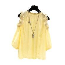 Vestido off-the-ombro camisa selvagem das mulheres novas moda floral bordado chiffon camisa retro manga metade sopro solta