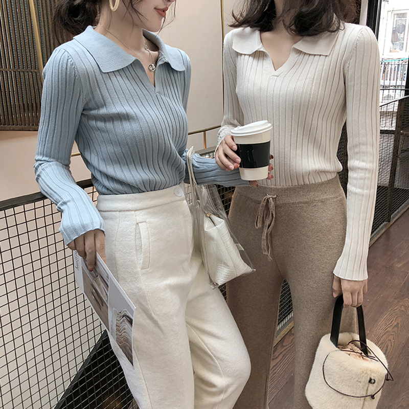 Gkfnmt Knitted Sweaters Pullover Solid-Color Winter New-Fashion Work Chic Fall Slim Turn-Down-Collar