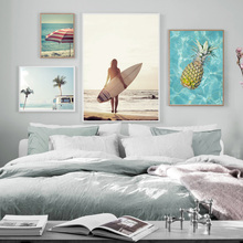 Sea Surf Girl Beach Coconut Tree Car Pineapple Wall Art Canvas Painting Posters And Prints Pictures For Living Room Decor