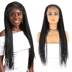 13x6 Spitze Front Synthetische Braid Perücken Für Schwarze Frauen SOKU African American Spitze Front Perücken Lange Tendy Geflochtene perücken