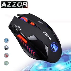Image 1 - AZZOR Carica Silenzioso Pulsante Mute Mouse Senza Fili Noiseless Gaming Mouse Ottico 2400dpi Built in Batteria Per PC Del Computer Portatile del Computer