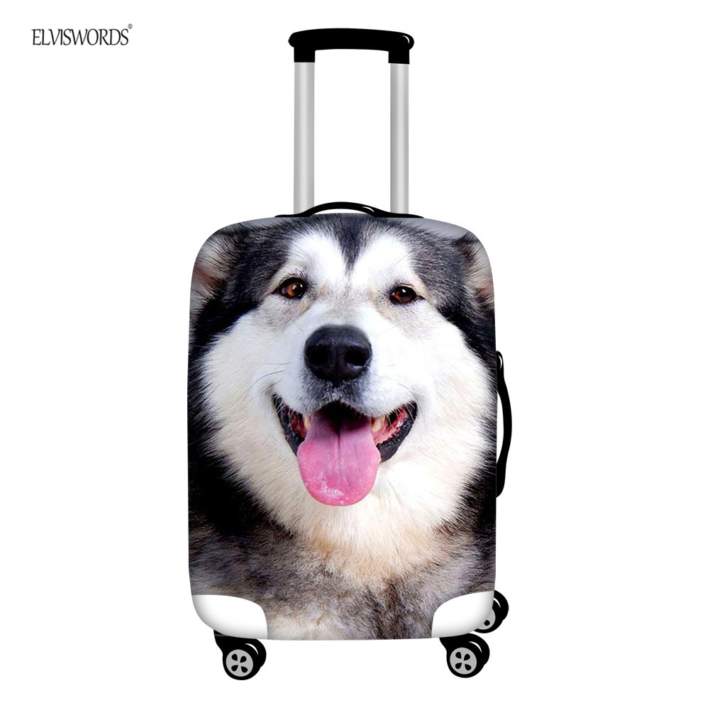 ELVISWORDS Huskie Funny 3D Printing Luggage Cover Elastic Thick Dust Rain Covers Pet Dog Apply To 18