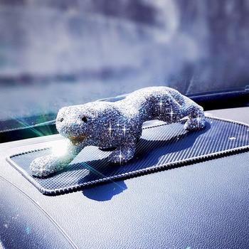 Luxury Rhinestone Crystal Leopard Car Interior Ornament Bling Bling Animal Decoration for Car Dashbord Great Gift Universal