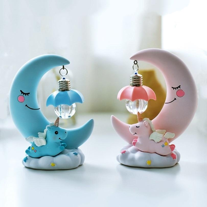 Resin Moon Unicorn LED Night Light Cartoon Baby Nursery Lamps  Children Toy Gift Kids Room Craft Table Lights Decor Unicorn Lamp
