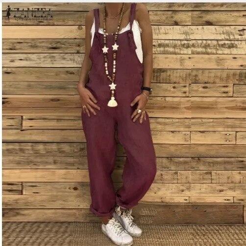 Loose Casual Large Size Linen Cotton Fashion Purple Bib Pants