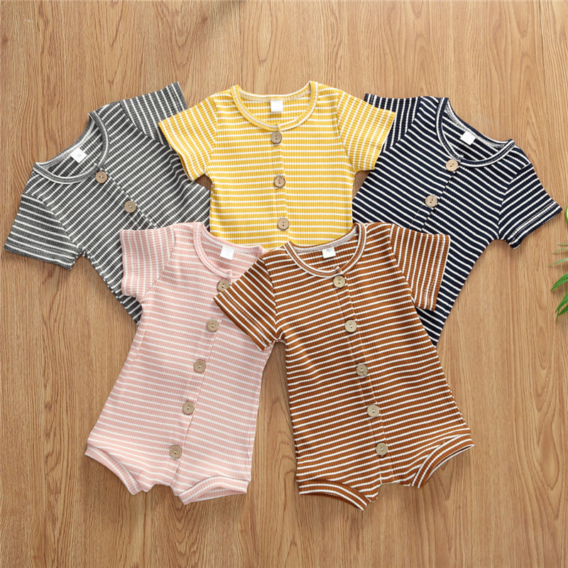 Summer Baby Clothing Newborn Boys Girls Striped Sleeveless Rompers Infant Summer Outfit Clothing