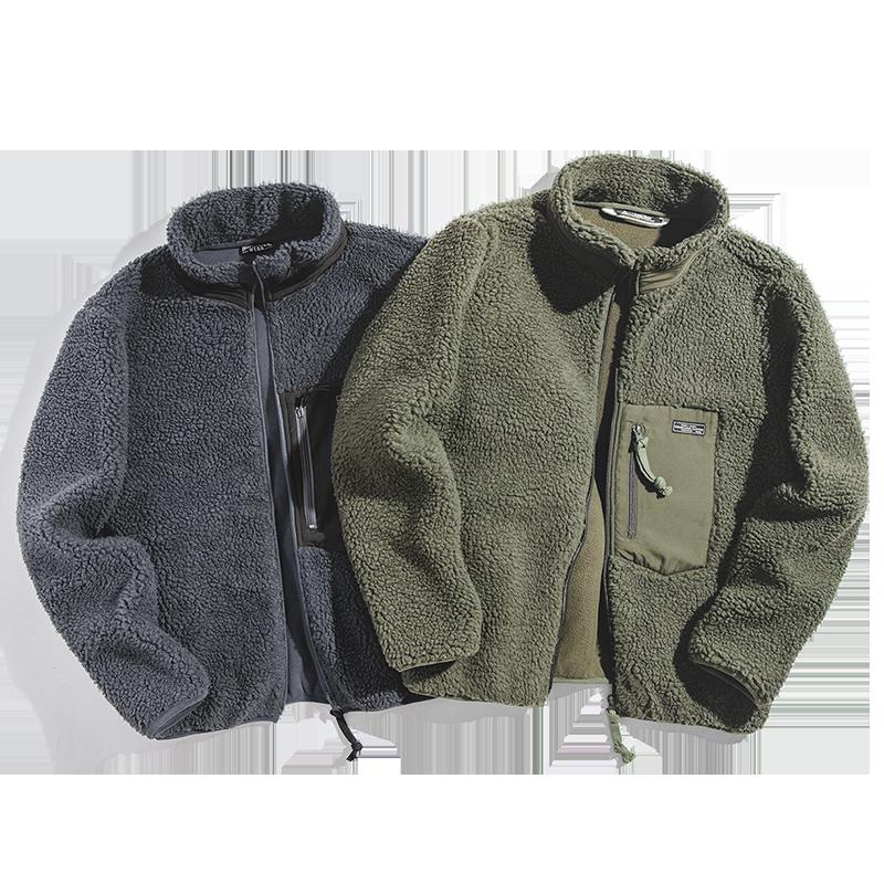 Maden Men's Casual Retro Fleece Jacket Autumn And Winter Retro Solid Color Versatile Coat