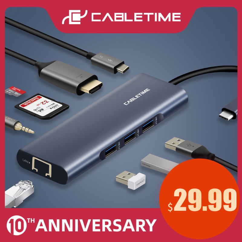 CABLETIME USB C HUB Type C To Multi USB 3.0 HDMI Adapter Dock For MacBook Pro HUAWEI PC USB-C 3.1 Splitter Port USB C HUB C259