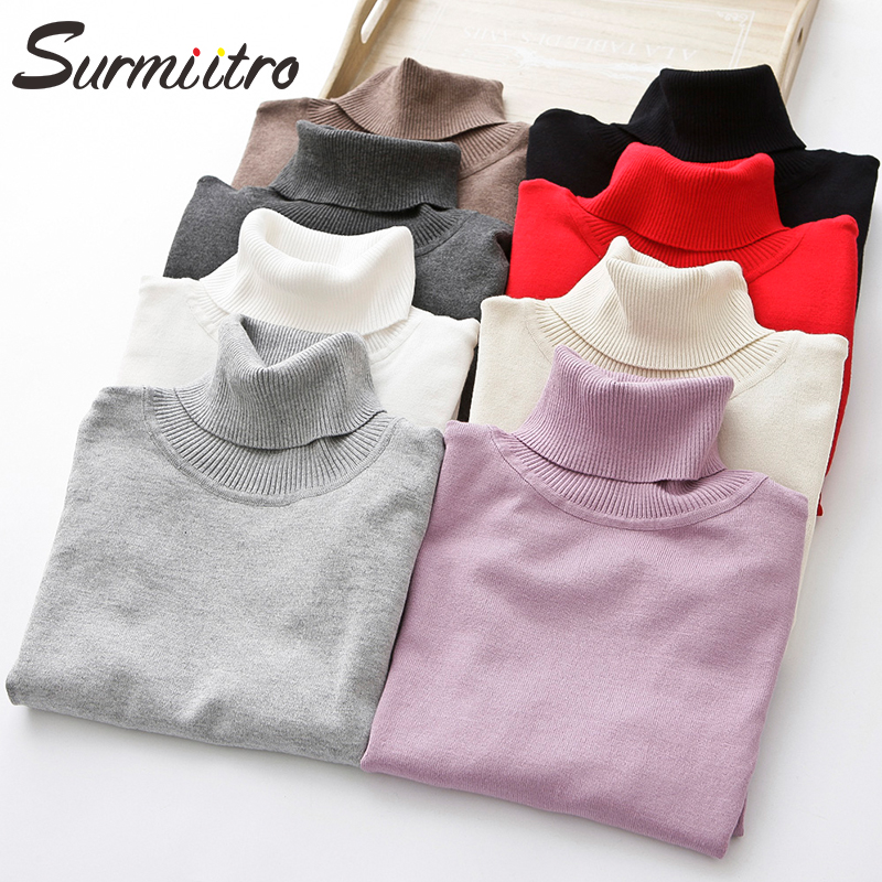 SURMIITRO Women Turtleneck For Autumn Winter 2019 Ladies Korean Jumper Long Sleeve Sweater Female White Black Red Pullover