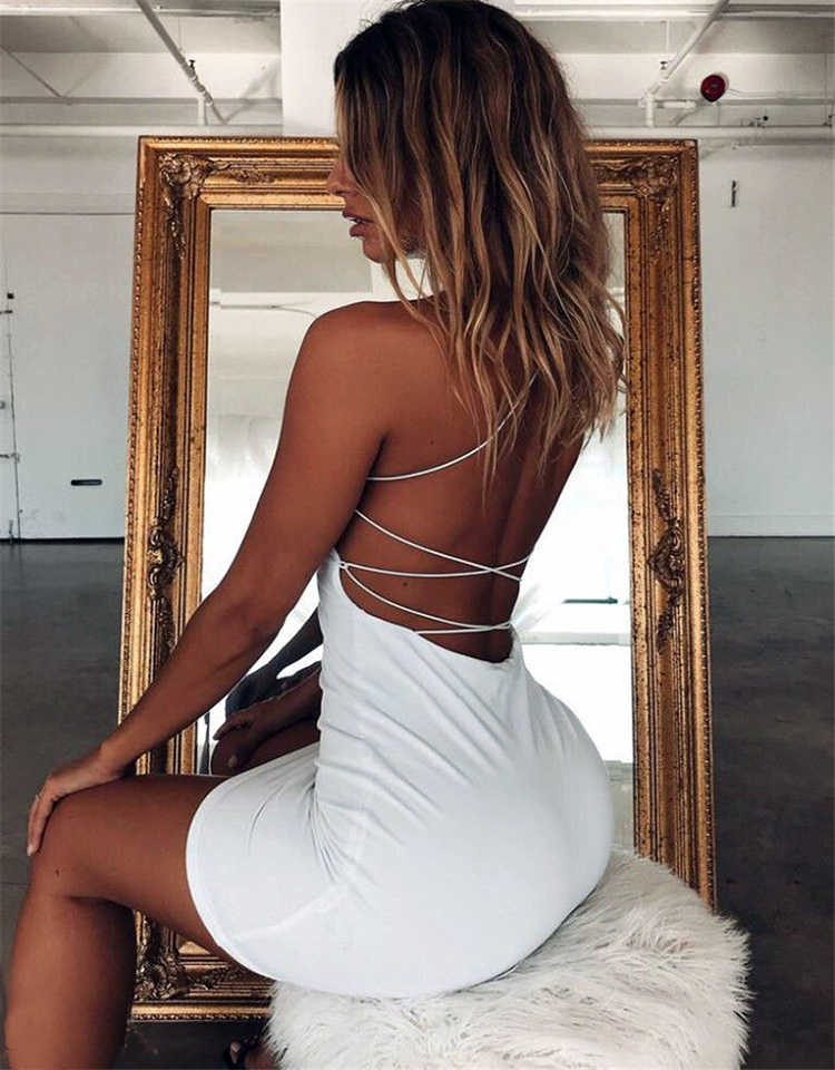 2020 Vrouwen Sexy Bodycon Party Jurken Backless Spaghettibandjes Clubwear Mini Jurk Lage Hals