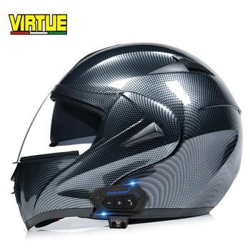 цена на Electric motorcycle Bluetooth helmet, men's uncovering helmet, double lenses, full helmet, running helmet, carbon fiber pattern