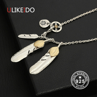 Solid 925 Sterling Silver Necklace For Men Vintage Turquoise Feather Charms Eagle Pendant Chain New Fine Jewelry P25