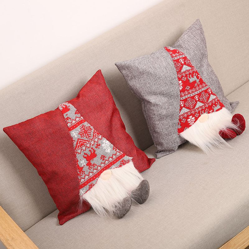 Christmas Pillow Case  Rudolph Cartoon Decorative Home Cushion Pillow Cover