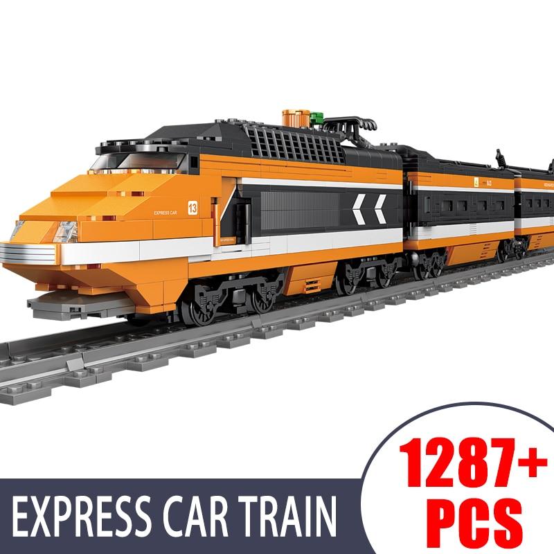 KAZI Skyline поезд Электрический поезд серия трек Минифигурка Детский пазл сборный строительный блок игрушка подарок