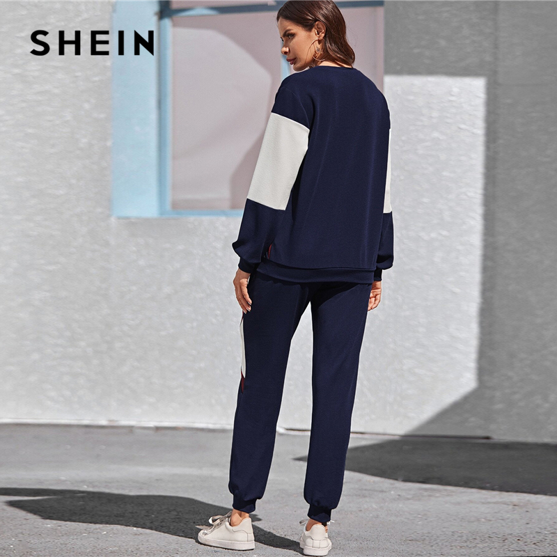 SHEIN Navy Color Block Pullover and Sweatpants Two Pieces Set Women Spring Autumn Active Wear Drop Shoulder Casual Suit Sets 2