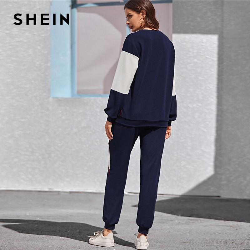 SHEIN Navy Color Block Pullover and Sweatpants Two Pieces Set Women Spring Autumn Active Wear Drop Shoulder Casual Suit Sets 2