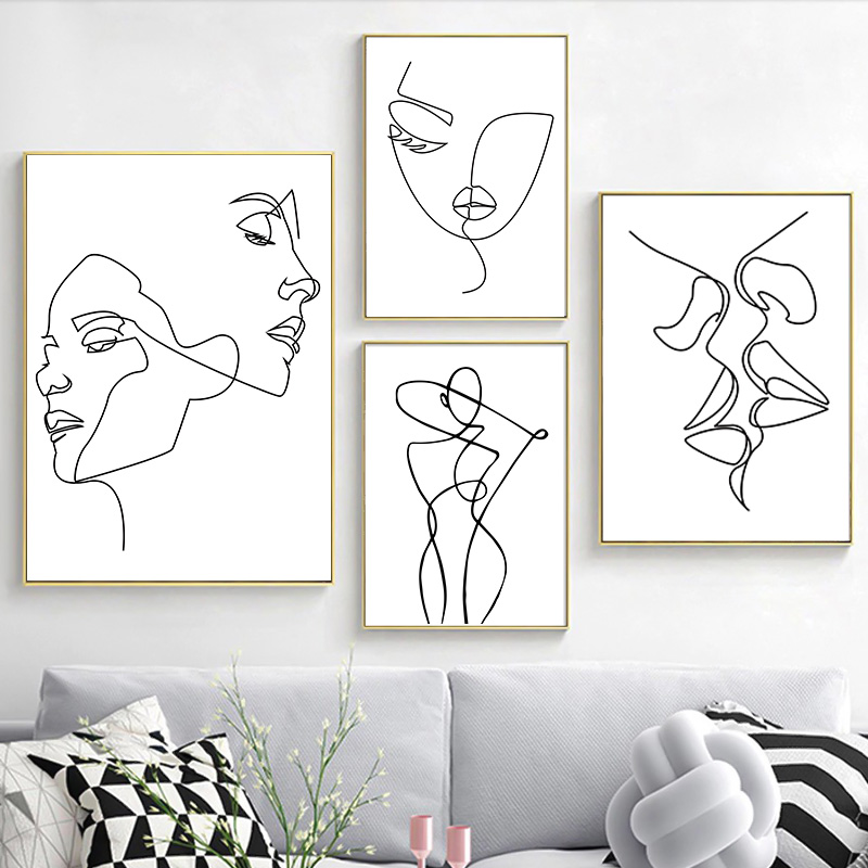 Nordic Minimalist Line Drawing Sexy Woman Body Nude Posters And Prints Wall Canvas Art Paintings Wall Pictures For Bedroom Decor