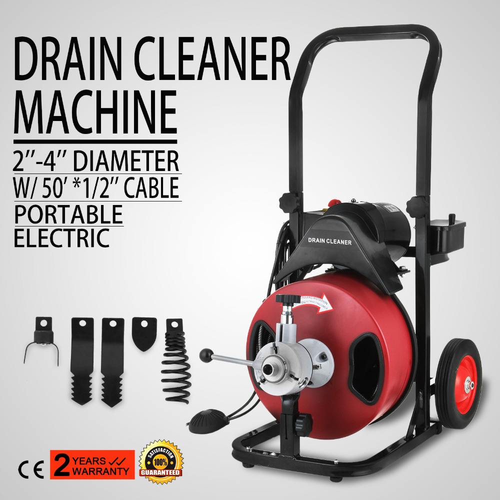 50FT*1/2 inch Drain Auger Pipe Cleaner Machine Local Snake Sewer Clog with Cutter|Garment Steamer Parts| |  - title=