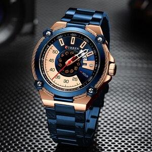 Image 3 - Часы CURREN Мужские кварцевые, дизайнерские модные деловые повседневные из нержавеющей стали с автоматической датой