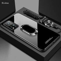 Funda de cristal templado para Xiaomi 10T Pro 5G MI 10T Lite, carcasa con soporte magnético de anillo para Redmi Note 10 Pro F3 X3