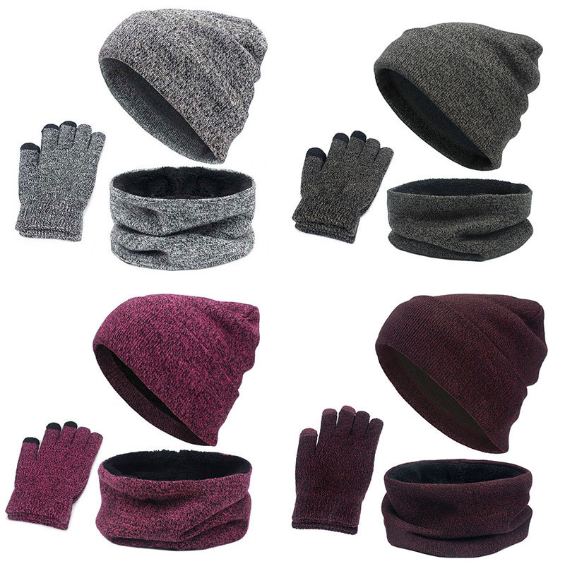 Europe And America Foreign Trade AliExpress Hot Selling Hat Set Autumn And Winter Men's Warm Yarn Hat Scarf Gloves Three-piece S