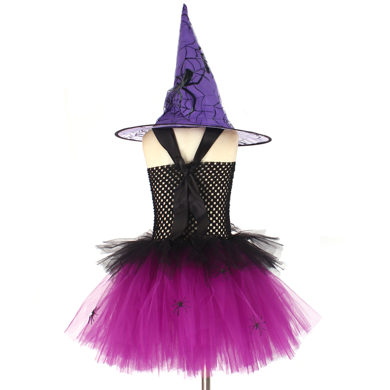 Spider Girls Witch Tutu Dress with Hat Black Purple Children Halloween Carnival Cosplay Witch Costume Kids Party Fancy Dresses (4)