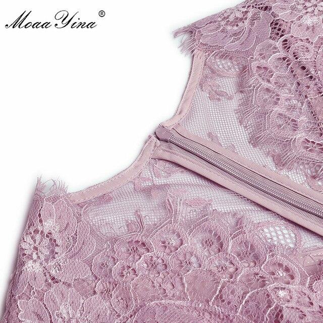 MoaaYina Fashion Designer dress Spring Women's Dress V-neck Lace Patchwork Package hip Ruffles Split Dresses 4