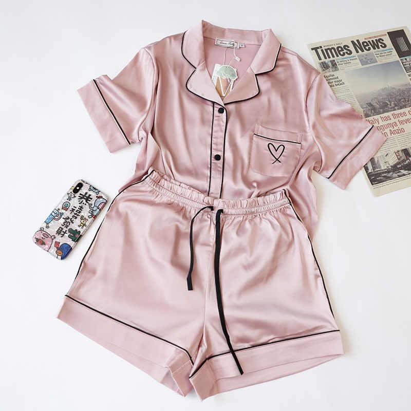 Women/'s Pajamas Silk-like Pijamas Sleepwear Lingerie 2Pcs Set Nightwear Slim Fit