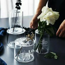 Letter Printed Clear Glass Wedding Vases for Flowers Home Decor Artificial Flower Bouquet with Vase Wedding Table Decoration nordic black matte glass vases hydroponics plant flower for artificial flower bouquet with vase wedding table home decoration
