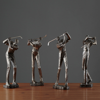 European Golfer Character Book Stand Resin Ornaments Art Home Study Room Figurines Decoration Book Shop Office Furnishing Crafts
