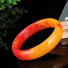 Натуральный Синьцзян золотой шелк нефрит атмосферу женский куриный кровяный нефритовый браслет красный Топаз qb08