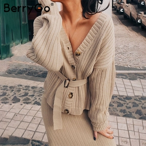 Image 4 - BerryGo Two piece women knitted dress set Elegant autumn winter sweater dress suits Long sleeve button sashes pure skirt suit