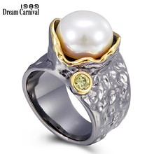 DreamCarnival1989-anillos de perlas de diseño popular para mujer, joyas góticas negras de compromiso creativas para boda, Color dorado, WA11777