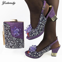 Nigerian Style Woman Pumps Orange Shoes And Bag Set Hot Sale Rhinestone High Heels 8CM Shoes And Purse Set For Wedding Party