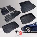 Автомобильные коврики из ТПЭ для Tesla Model 3, задний коврик для хранения в багажнике, коврик для любой погоды, автомобильный ковер, 2016-2020 лет, вод...