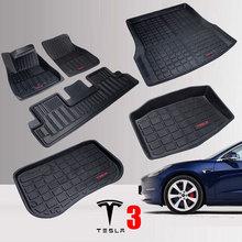 TPE Car Floor Mats for Tesla Model 3 Rear Trunk Storage Front Trunk Mat All Weather Auto Carpet 2016 2020 Years Waterproof Mat