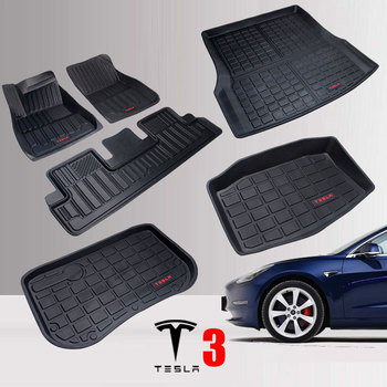 TPE Car Floor Mats for Tesla Model 3 Rear Trunk Storage Front Trunk Mat All Weather Auto Carpet 2016-2020 Years Waterproof Mat