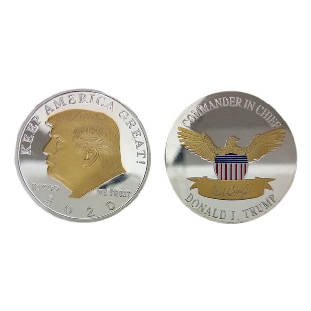 2020 silver-plated gold-plated two-color Trump commemorative coin gold and silver US president coin Trump crafts collection gift 6