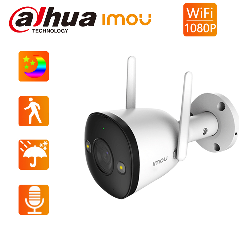 Dahua Full Color Night Vision Camera Imou Bullet 2E 1080P WiFi Outdoor Waterproof Home Security Human Detect Smart Alarm Ip Cam