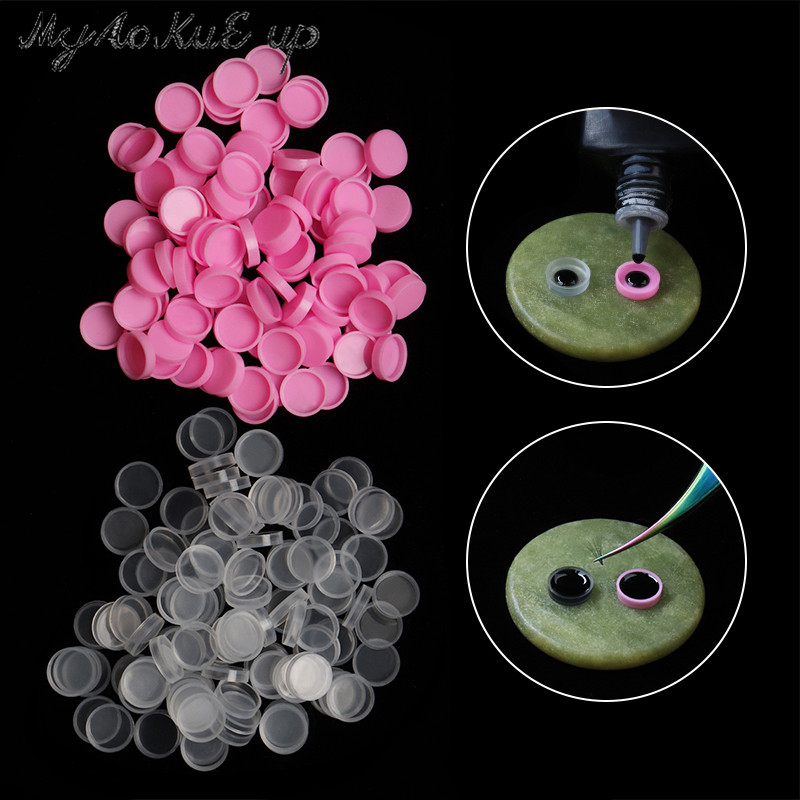 100Pcs/Lot Eyelash Glue Holder Grafting Eye Lashes Quick Individual Blossom Cup Ring Eye Makeup Extension Adhesive Stand Tools
