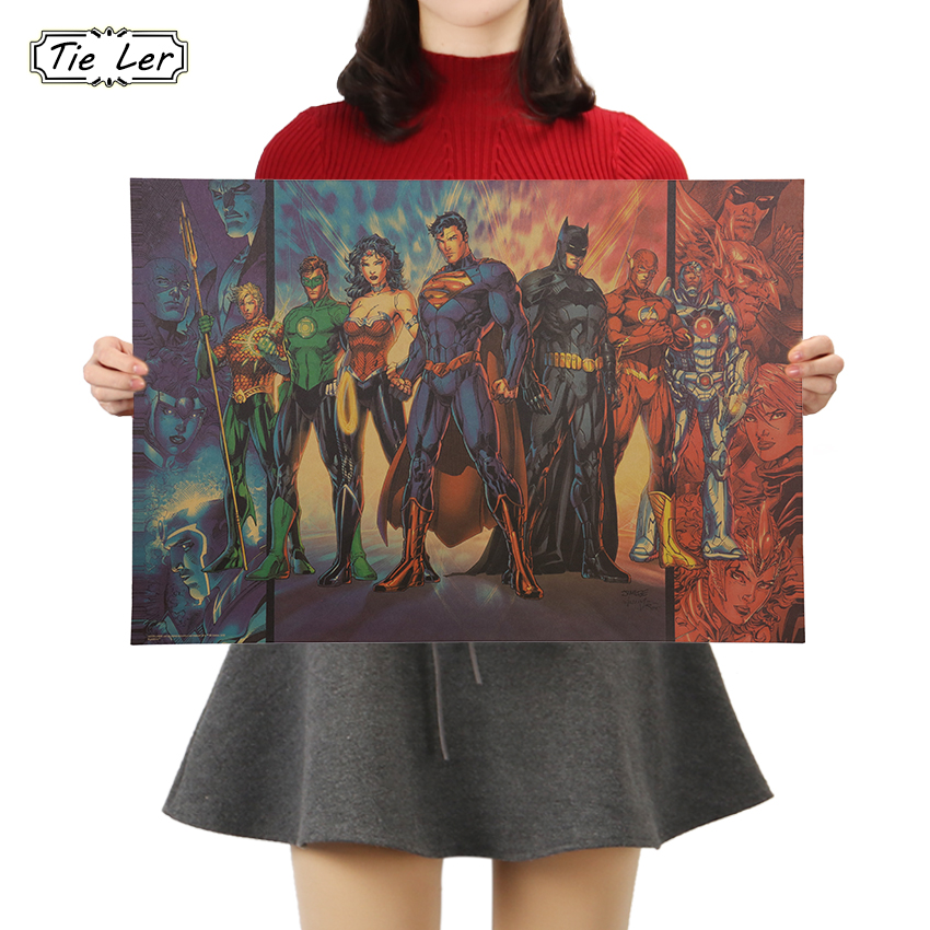 TIE LER Movie Justice League B Poster Vintage Character Kraft Paper Poster Home Decoration Art Wall Stickers 50.5x35cm
