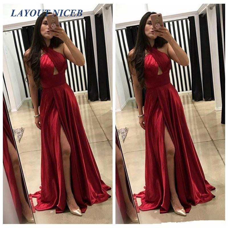 Halter Burgundy A-Line Prom Dresses Cheap Evening Gowns Slit Vestidos De Fiesta Party Wear