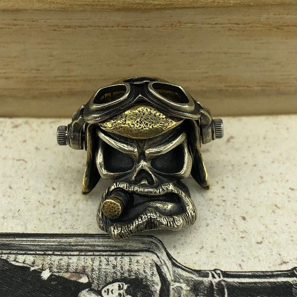 EDC Tools Brass Knife Beads Brass Air Force Pilot Skull Lanyard Bead Paracord Knife Keychain Tool DIY Pendant #148