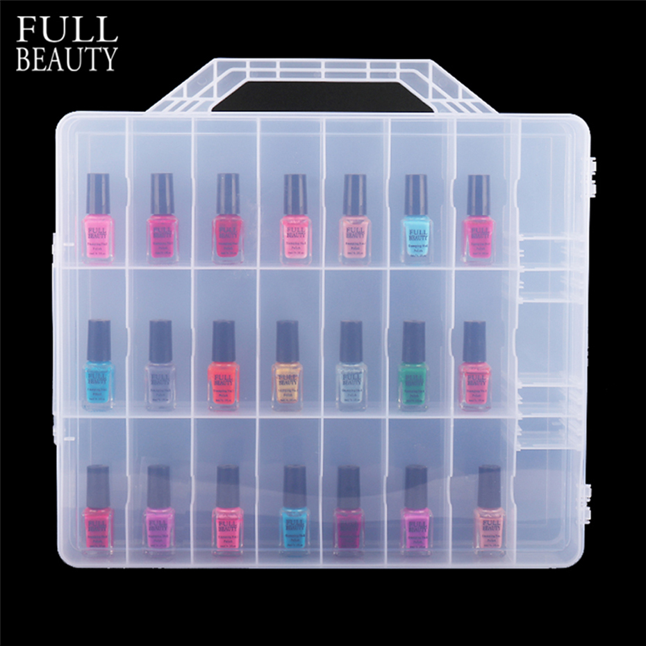 48 Bottles Clear Double Sides Nail Polish Organizer Acrylic Nail Supplies Holder Container Cosmetic Varnish Storage Box CH1592