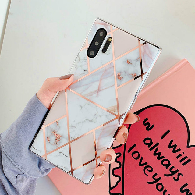Plating Marble Phone Case For Samsung Galaxy Note 10 9 8 S9 S8 S10 Plus S10E S7 Edge A10 A10S A20 A20S A30 A50 A70 A90 5G Cover