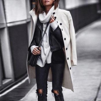 Autumn Jacket Casual Women New Fashion Long Woolen Coat Single Breasted Slim Type Female Winter Wool Coats Outerwear Overcoat 2