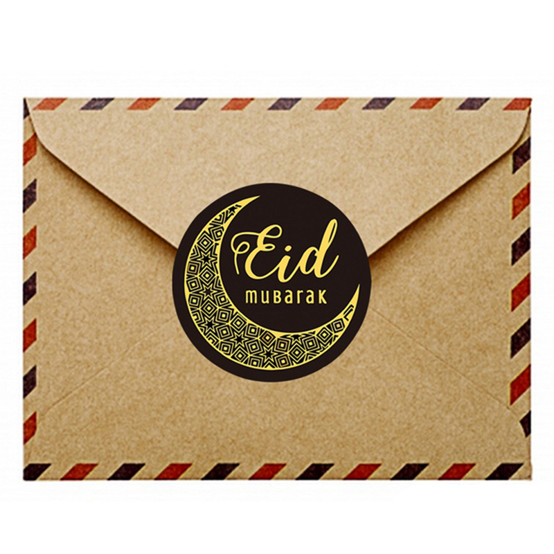 MEIDDING Eid Mubarak Black Stickers In Box Lable Paper Seal Gift Stickers Ramadan Mubarak Eid Decorations Islamic Gifts Decor