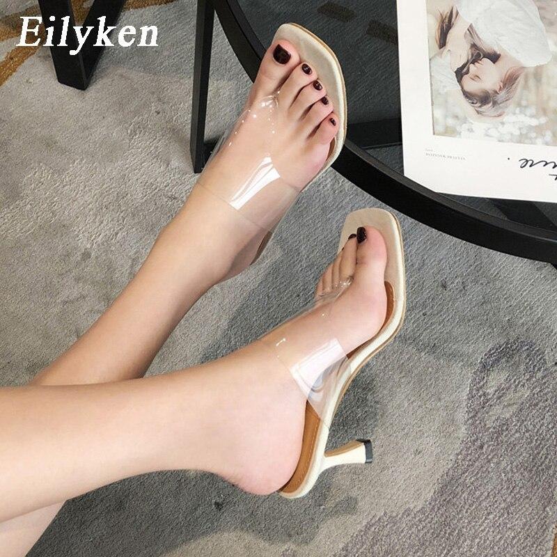 Eilyken Women's Slippers Sexy Transparent PVC Pinch Narrow Band Women Gladiator Sandal Fashion Ladies Flip Flops Thin High Heels