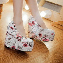 AGODOR Sexy Wedges Shoes for Women Platform High Heels Pumps Floral Print Slip on Round Toe Party Shoes Woman Plus Size hee grand floral wedges elegant high heels platform shoes woman slip on sexy pumps pointed toe women shoes size 35 42 xwd4267