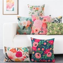 Cojín, cubierta de flores para cojín, almohada lumbar para oficina, sofá, cojín, funda de almohada para decoración de sala de estar